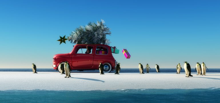 illustration of a car with a Christmas tree